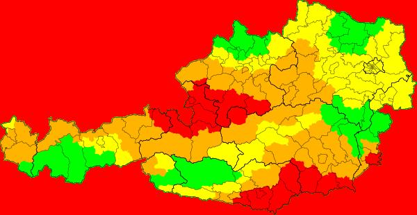 Aktuelle Unwetterkarte Österreich